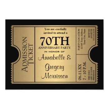 golden ticket style 70th wedding anniversary party invitation