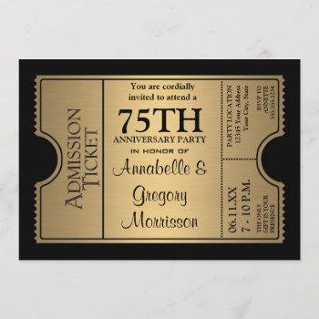 golden ticket style 75th wedding anniversary party invitation