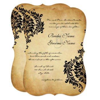 golden vintage black damask wedding invitations