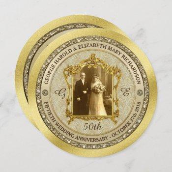 golden wedding anniversary classic photo frame invitation