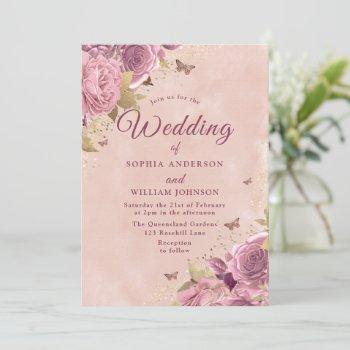 gorgeous blush floral watercolor wedding invitation
