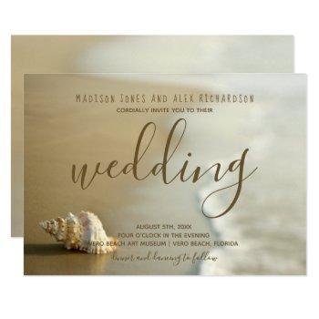 gorgeous gold seashell beach wedding invitation