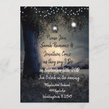 gorgeous romantic lantern lit tree wedding invitation