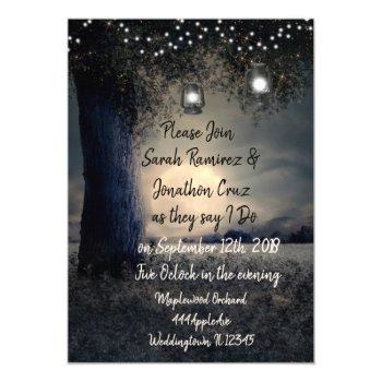 gorgeous romantic lantern lit tree wedding invitation