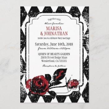 goth roses grunge diamond print wedding invitation