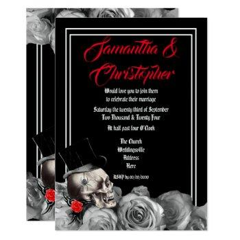 gothic rock or biker black wedding invitation