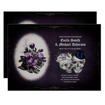 gothic wedding vintage floral purple skulls invitation