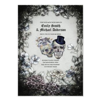 Small Gothic Wedding Vintage Watercolor Flowers Skulls Invitation Front View