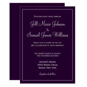 graceful plum and gray wedding invitation
