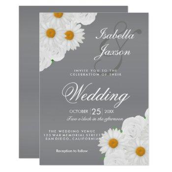 gray and white floral wedding invitation