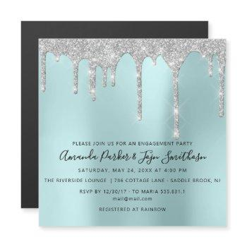 gray silver spark drips bridal wedding aqua magnetic invitation