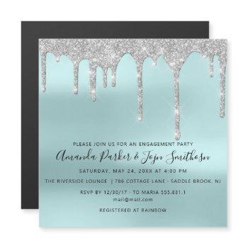 gray silver spark drips bridal wedding tiffany magnetic invitation