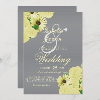 gray wedding satin and pastel yellow wedding invitation