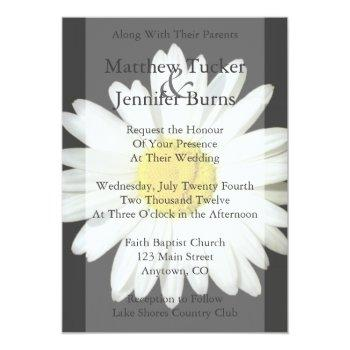 gray & white daisy wedding invitation announcement