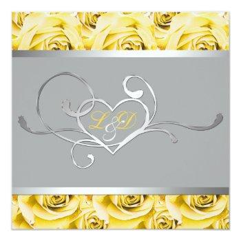 gray with yellow roses monogrammed invitation