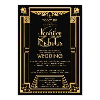 great gatsby 1920s art deco inspired wedding invitation