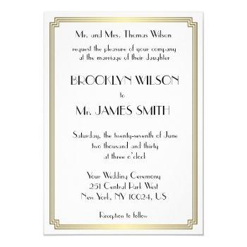 great gatsby art deco gold white wedding invites