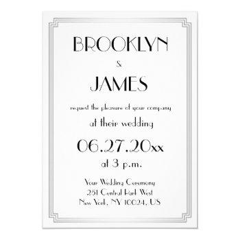 great gatsby art deco silver wedding invitations