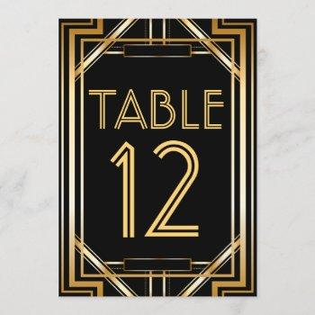 great gatsby art deco table number cards