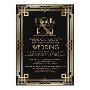 great gatsby inspired art deco wedding invitation