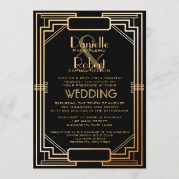 great gatsby inspired art deco wedding invitation