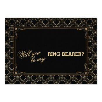 great gatsby vintage art deco wedding ring bearer invitation