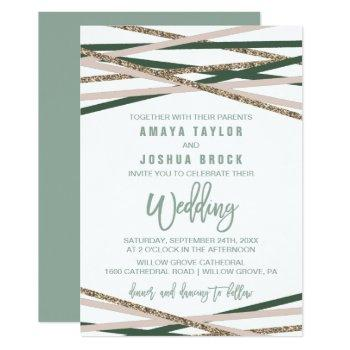 green and blush streamers wedding invitation
