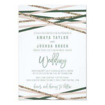 Small Green And Blush Streamers Wedding Invitation Front View
