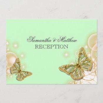 green beige butterfly wedding reception invitation