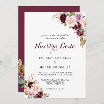 green blush burgundy floral spanish wedding invitation