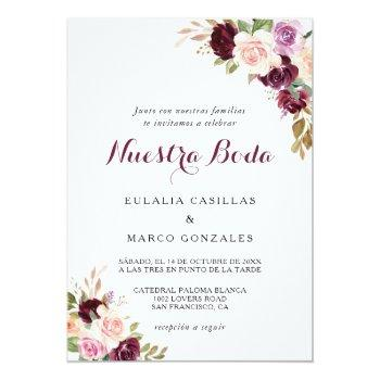 Small Green Blush Burgundy Floral Spanish Wedding Invitation Front View