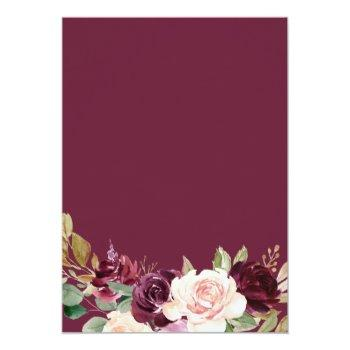 Small Green Blush Burgundy Floral Spanish Wedding Invitation Back View