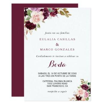 green blush burgundy floral spanish wedding invitation
