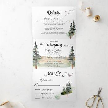 green forest wedding tri-fold invitation
