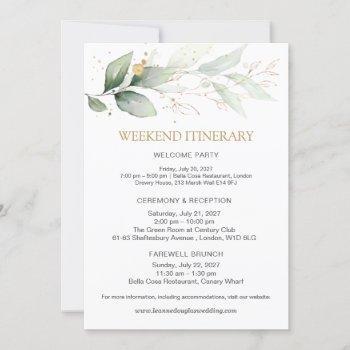 green & gold wedding weekend itinerary invitation