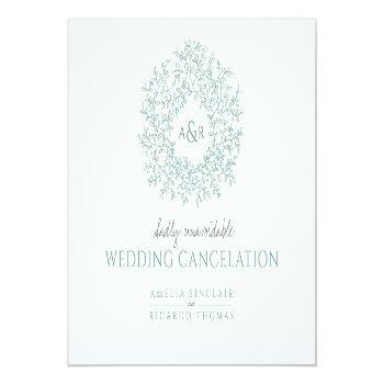 Small Green Hand Drawn Leaf Monogram Wedding Cancelation Announcement Postcard Front View