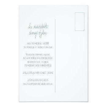 Small Green Hand Drawn Leaf Monogram Wedding Cancelation Announcement Postcard Back View