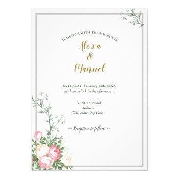green lavenderblush floral wedding invitation