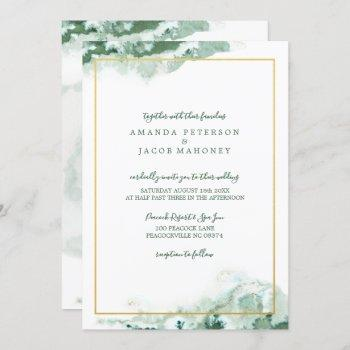 green marble ombre gold frame wedding invitation
