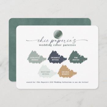 green navy & gold 2021 wedding color palette card