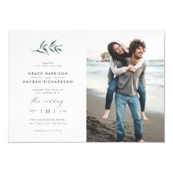 green painted botanical minimalist wedding photo magnetic invitation
