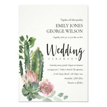 green pink floral desert cacti foliage wedding invitation