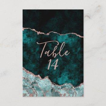 green & rose gold agate wedding table numbers