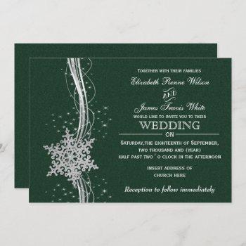 green silver snowflakes winter wedding invitations
