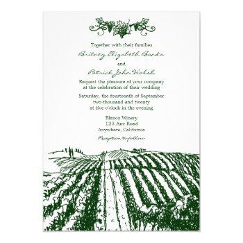 green tuscan winery vineyard wedding invitations