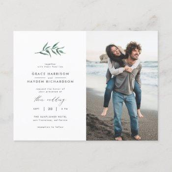 green watercolor sprig | minimalist photo wedding invitation postcard