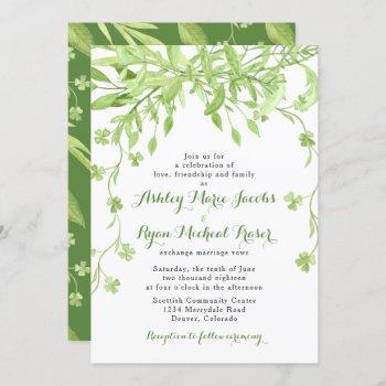 greenery clover floral wedding invitation