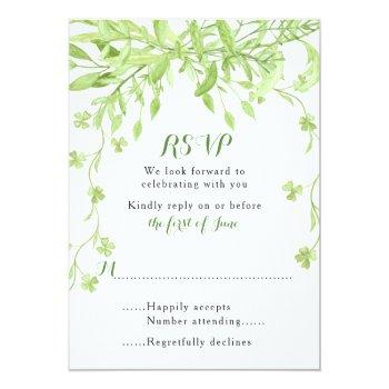 Small Greenery Clover Floral Wedding Rsvp Card Front View