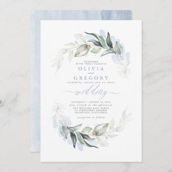 greenery dusty blue modern elegant wedding invitation