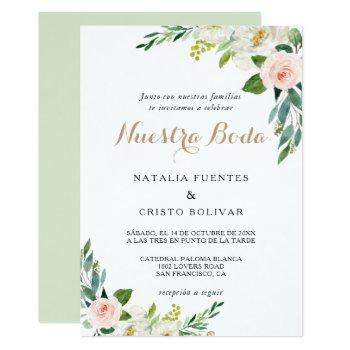 greenery elegant  spanish wedding invitation